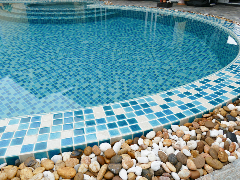 Tile cleaning acid wash pressure washing blue water for Putting shock in pool