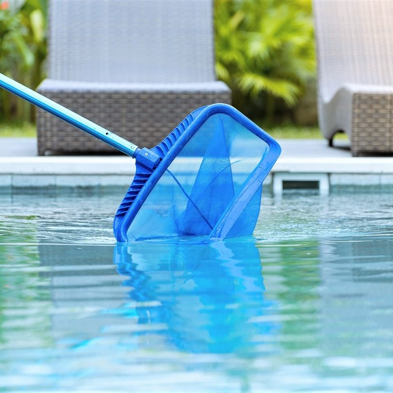 Cleaning swimming pool of fallen leaves with skimmer net equipment against sun resort loungers at sunny summer day